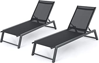 Mesa Outdoor Black Mesh Chaise Lounge with Grey Finished Aluminum Frame (Set of 2)