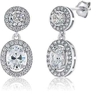 Montage Jewelry Women's Oval & Round Cubic Zirconia Sterling Silver Dangle Bridal Earrings