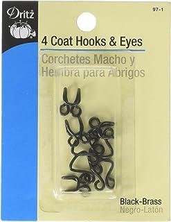 Dritz 97-1 Coat Hook & Eye Closures, Black-Brass 4-Count