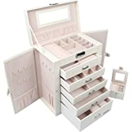 Homde 2 in 1 Huge Jewelry Box/Organizer/Case Faux Leather with Small Travel Case, Gift for Girls...