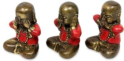 "NOVICA 223027"" Three Wise Little Buddhas Figurines, Set of 3, Bronze"