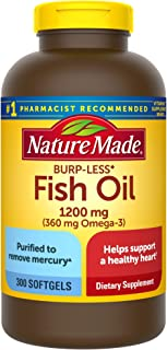 Nature Made Burp-Less Fish Oil 1200 mg Softgels, 300 Count for Heart Health†