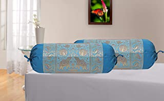 Real Online Seller Indian Polydupion Cylindrical Tube Pillow Bolster Pillow Covers Red Jacquard Brocade Border Peacock Large Couch Round Cylinder Cushion Covers (Set of 2)