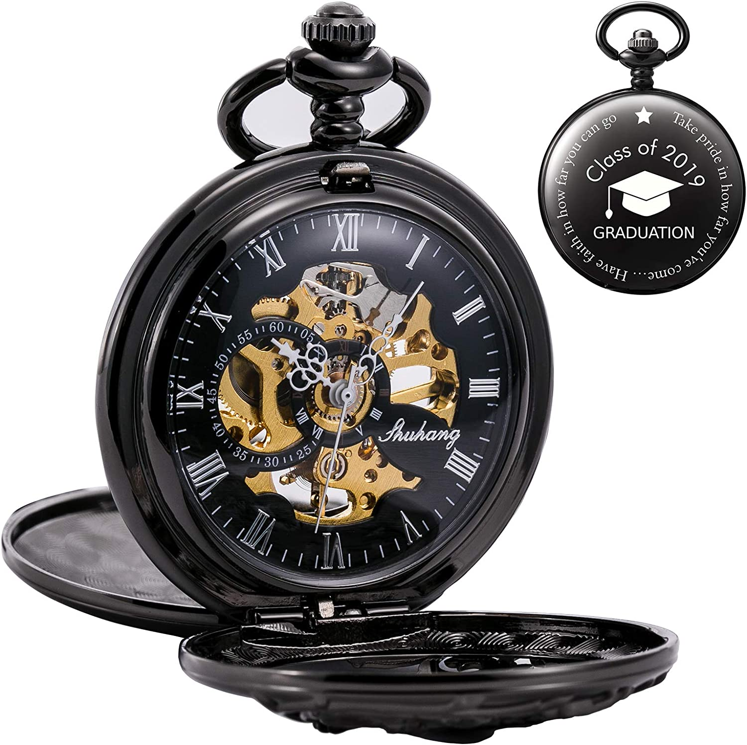 Shipping included Popular overseas TREEWETO Antique Engraved Mechanical Pocket Watch H Lucky Dragon