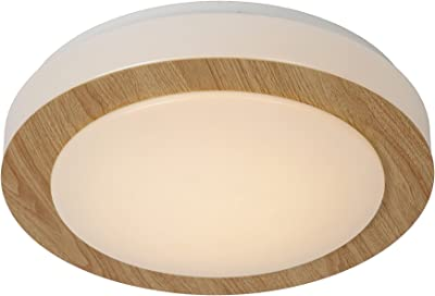 Lucide DIMY - Plafoniera per bagno, Ø 28,6 cm, LED Dim, 1 x 12 W, 3000 K, IP21, in legno chiaro