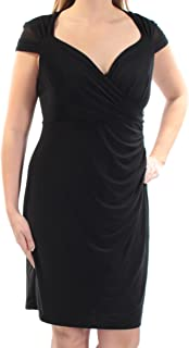 Womens Black V Neck Cap Sleeve Dress 2 Petites