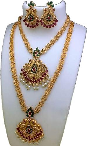 Women S Girl S Peacock Design Metal Gold Plated Finish Jewellery Set Combo Offer Matte