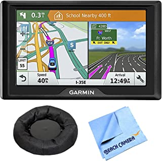 Garmin 010-01678-0B Drive 51 LM GPS Navigator with Driver Alerts - USA Bundle with Universal Weighted GPS Navigation Dash-Mount 6 x 6 inch Microfiber Cleaning Cloth