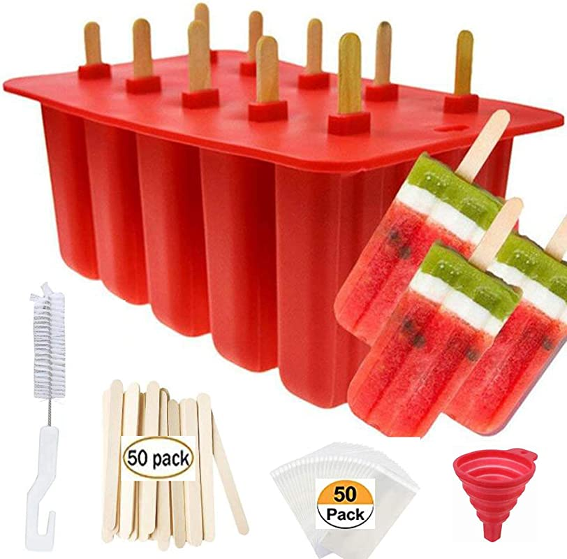 Popsicle Molds Shape Maker 10pcs Homemade ICE Pop Molds Shapes Food Grade Silicone BPA Free With 50 Popsicle Sticks 50 Popsicle Bags Silicone Funnel Cleaning Brush Red