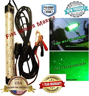 Fire Water Marine 12 INCH Green OR White Deluxe Underwater Fishing Light 12V 30W 150 LED 5000 Lumen Submersible Fish Lamp with 15 Foot Cord Squid, Snook, Crappie, shad, Shrimp