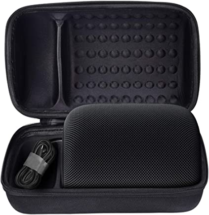 PAIYULE Travel Case Compatible Apple HomePod Speaker, Fits Charging Cable with Should Strap (Black)