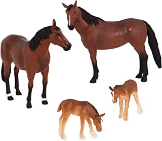 Terra by Battat – Quarter Horse Family - Miniature Toy Horse Family Figurines for Kids 3-Years-Old & Up (4 Pc), Brown/A, Model:AN2822Z
