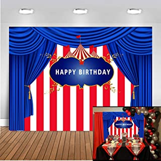 Art Studio 7x5ft Circus Carnival Theme Kids Birthday Party Photography Backdrop Blue Curtain Red White Striped Tent Carousel Baby Shower Dessert Table Decor Banner Photo Studio Props Booth Vinyl