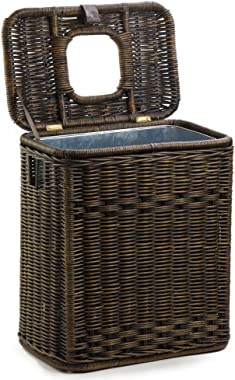 The Basket Lady Drop-in Wicker Rectangular Trash Basket with Metal Liner, 20 in L x 13 in W x 24 in H, Antique Walnut Brown