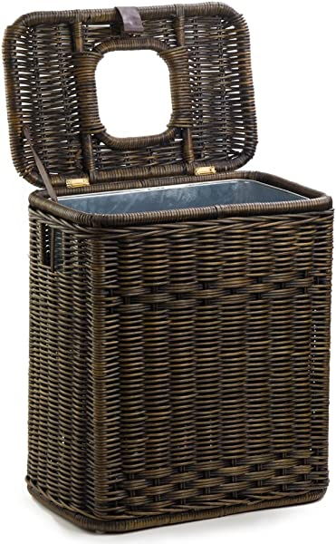 The Basket Lady Drop In Wicker Rectangular Trash Basket With Metal Liner 20 In L X 13 In W X 24 In H Antique Walnut Brown