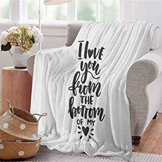 Romantic Commercial Grade Printed Blanket I Love You from The Bottom of My Heart Quote on White Retro Calligraphy Design Queen King W54 x L72 Inch Black White