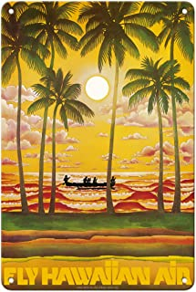 Pacifica Island Art Hawaii - Fly Hawaiian Air - Hawaiian Airlines - Vintage Airline Travel Poster c.1970s - 8in x 12in Vin...