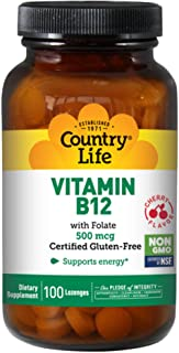 Country Life Vitamin B-12, 500 mcg, with Folic Acid (Sublingual Lozenges), 100-Count