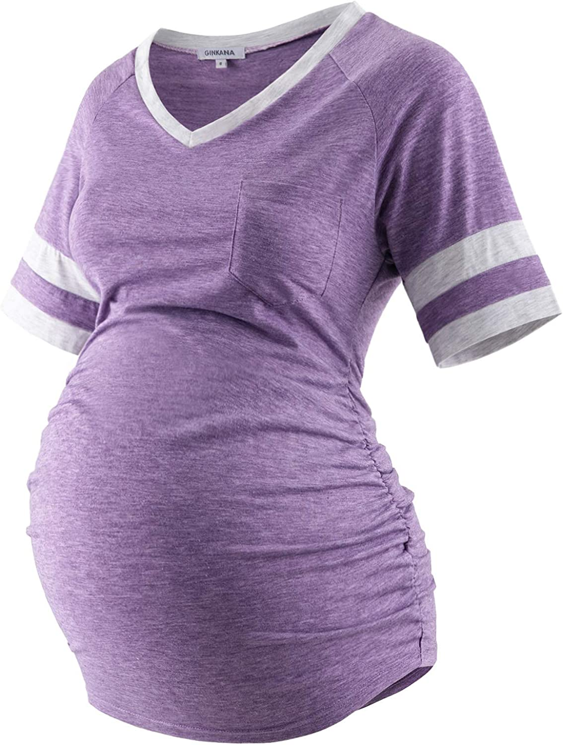 GINKANA Maternity Shirt Color Block New popularity T Po Sleeve with Super sale period limited Short