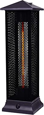 Star Patio Electric Patio Heater, Freestanding Outdoor Heater, 1500W Infrared Heater with Matte Black Finished, Tip-Over Prot