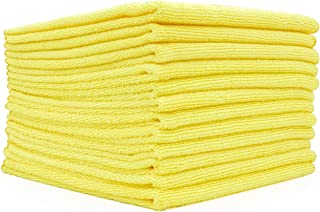 (12-Pack) 16 in. x 16 in. Commercial Grade All-Purpose Microfiber Highly Absorbent, LINT-Free, Streak-Free Cleaning Towels - THE RAG COMPANY (Yellow)