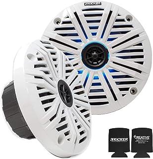 KICKER 6.5' LED Marine Speakers (1 Pair) White Salt Water Grills OEM Replacement Speakers