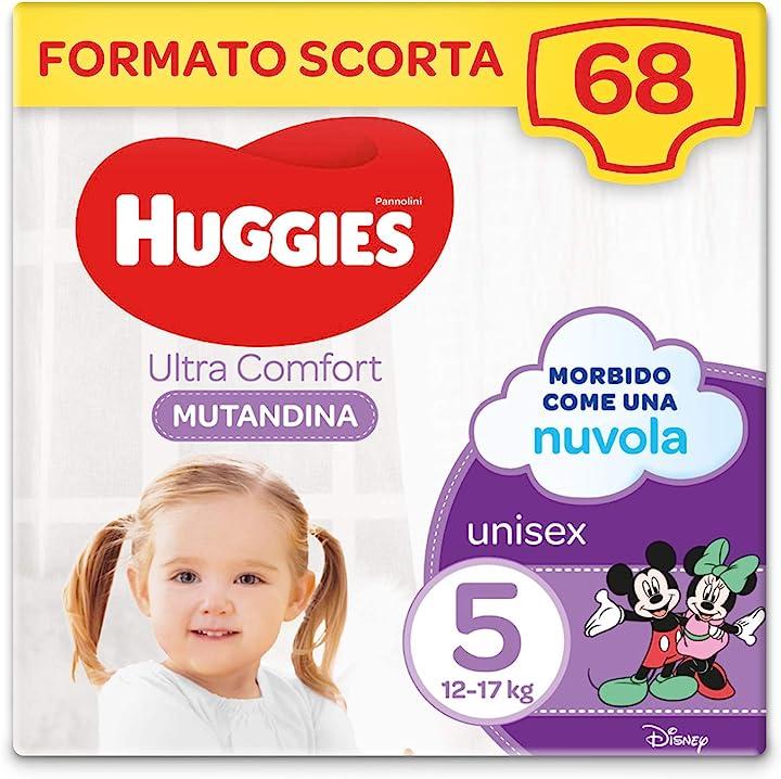 Pannolino mutandina, taglia 5/12-17 kg, confezione da 68 pannolini, 34 x 2 huggies ultra comfort 05029054216828