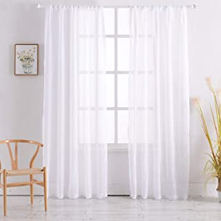 Rod Pocket Sheer Curtains Window Voile Treatment Panels for Bedroom/Living Room Drapes Semi Transparent Poly Linen Textured Elegance White Curtains Set of 2 Panels (54