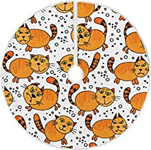 """Naanle Doodle Cats Christmas Tree Skirt 35"""" Tree Skirt Christmas Tree Decoration Blanket Xmas Tree Mat for Merry Christmas..."""