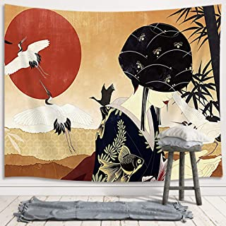DYNH Japanese Women Decor Tapestry, Asian Ancient Japan Geisha Red Sun Bamboo Retro Painting Artwork Wall Hanging for Bedroom Living Room Art College Dorm, TV Backdrop Wall Blankets 71X60 Inches