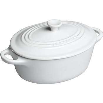 Le Creuset Stoneware Mini Oval Cocotte, 12-Ounce, White