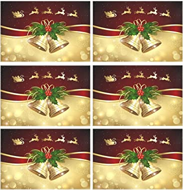 ZOEO Christmas Bell Placemats Set of 6 Red Gold Dining Table Mats Non Slip Vinyl Placemat Kitchen Heat Resistant Washable