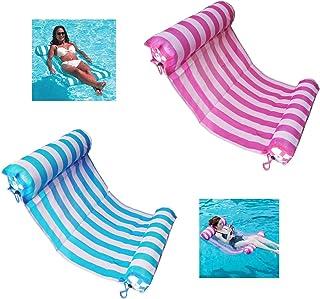 aiwan lezhi 2-pack(pink,blue) premium swimming pool float hammock, comfortable inflatable swimming