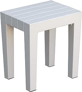 DesignByIntent Polypropylene Shower Stool in White, 15L x 11.5W x 16