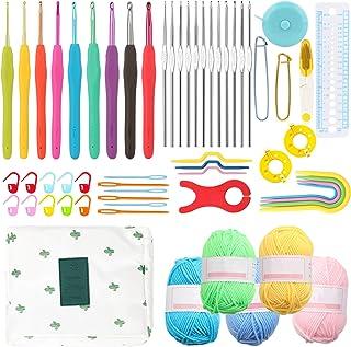 Coopay Kits de Crochet pour Adultes Débutants, Comprend Crochets Ergonomiques en Métal de 0,6 mm à 6 mm, Tricot Accessoire...