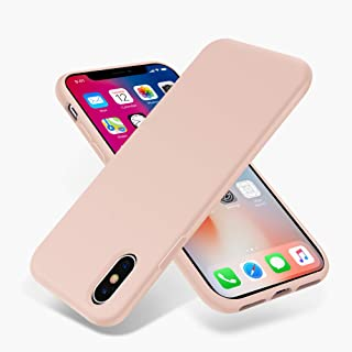 for iPhone X Case, OTOFLY [Silky and Soft Touch Series] Premium Soft Silicone Rubber Full-Body Protective Bumper Case Compatible with Apple iPhone X XS(ONLY) - (Pink Sand)