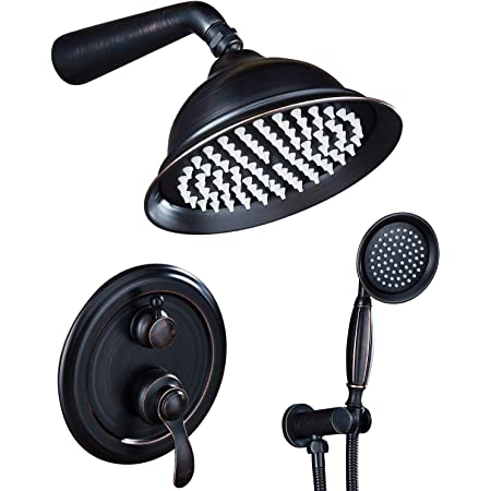 AUKTOPT AS-LB3508 Rainfall Shower Faucet System with Handshower Wall Mounted Rain Mixer Combo Set, A, Oil Rubbed Bronze
