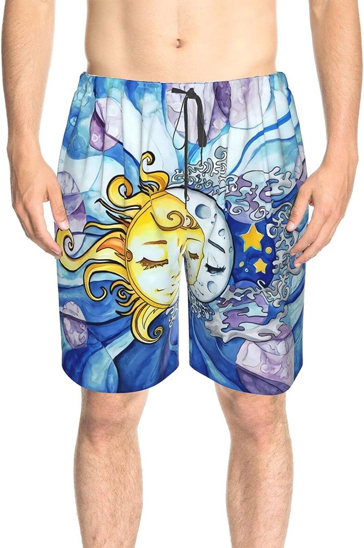 Men's Swim Shorts Sun and Moon Sky Swim Short Boardshort Drawstring 3D Printed Swimming Trunks with Liner