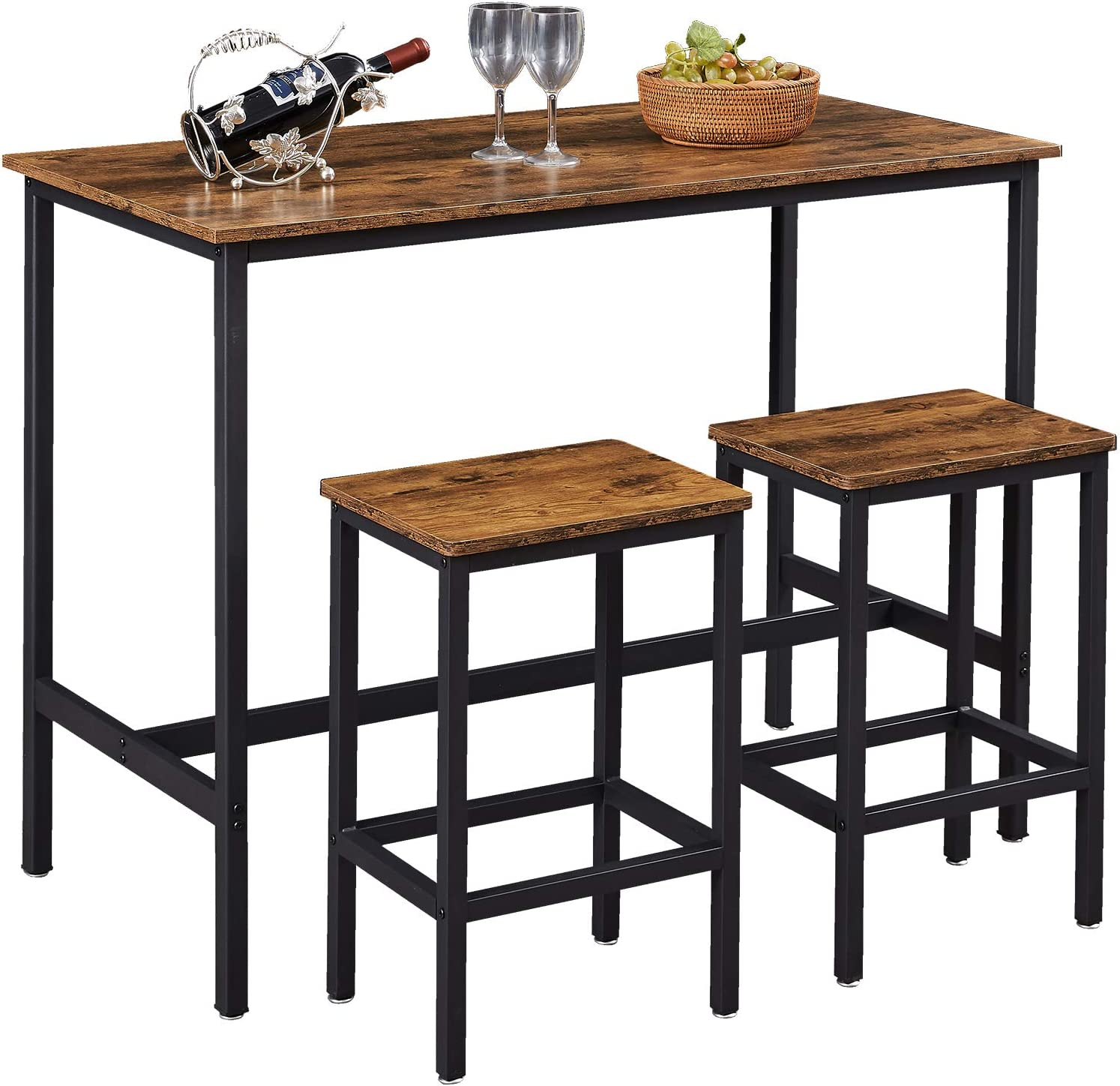 """SUPERJARE Bar Table Set Seasonal Wrap Introduction with 2 35.6"""" Dining Pub Heig Max 79% OFF Stools"""