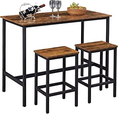 """SUPERJARE Bar Table Set with 2 Bar Stools, 47.2"""" Pub Dining Height Table Set, 3 Pieces Kitchen Counter Set, Vintage Industria"""