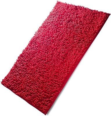 "Fadesun Super Soft Absorbent Non-Slip Microfiber Chenille Carpet/Doormat/Bath Mat/Rug Carpet/Floor Rug for Bedroom,Sitting Room,Corridor,Kitchen,Bathroom,and Car Seats,Shower,20""x32"",Red"