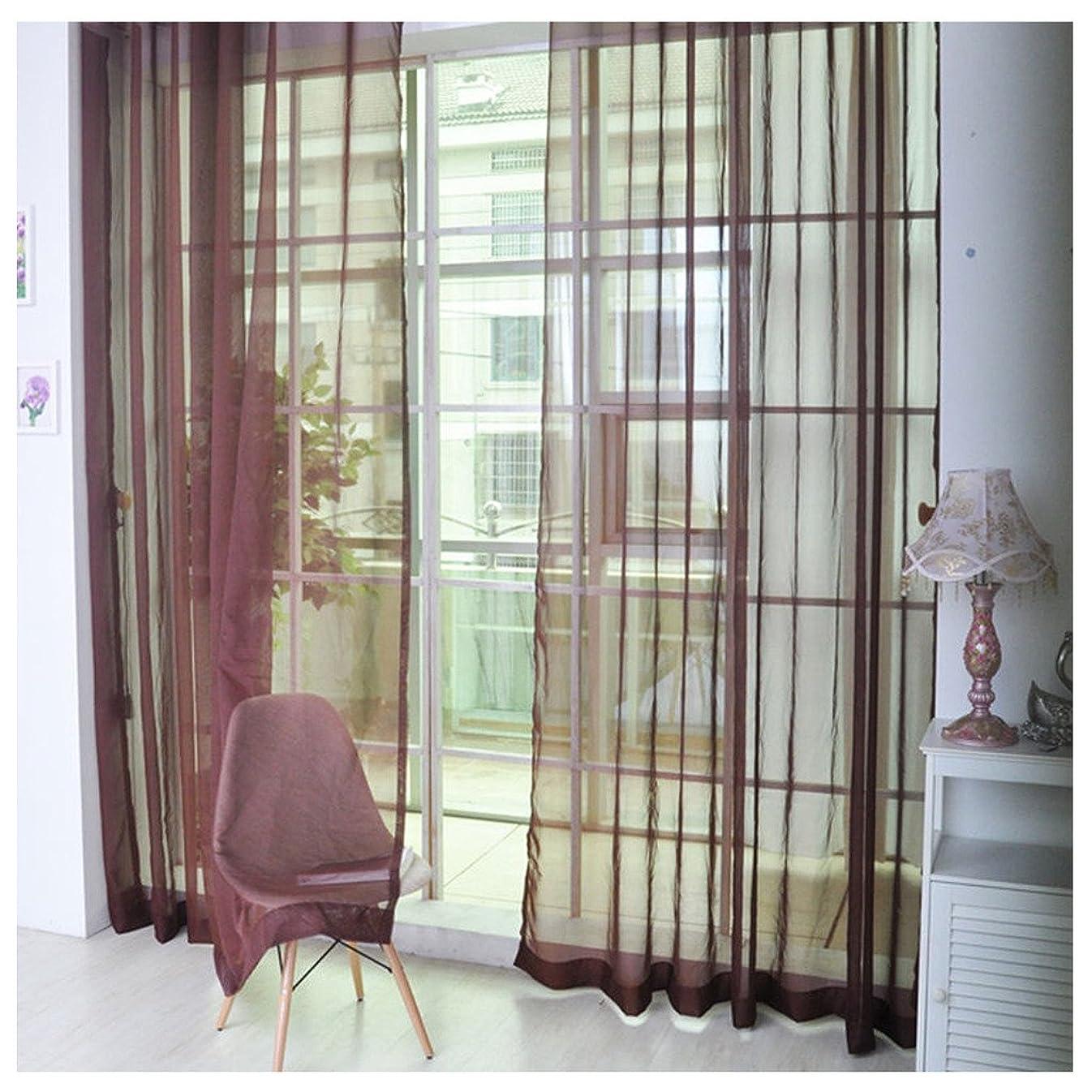 伝導率ほめるバルコニーHioffer(ハイオフア)薄手 カーテン 装飾 ボイルカーテン 洗濯可能 UVカット 窓 部屋 自然の風を通し 薄い カーテン 明るく ドレープ パネル ウォッシャブル ドアカーテン チュール 1枚 全11色 幅100cm丈200cm ブラウン