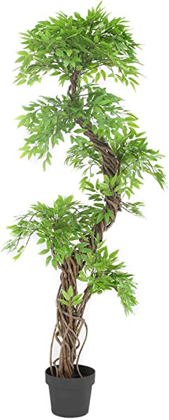 Luxury Japanese Fruticosa Tree Handmade Artificial Plant Replica Japanese Tree Made With Real Bark And Synthetic Leaves In A Brown Plastic Pot 165 Centimetres Tall