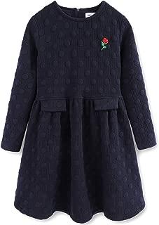 Big Girls 50s Vintage Dot Winter Thick Warm Navy Blue Long Sleeve Fall Dresses 7-16