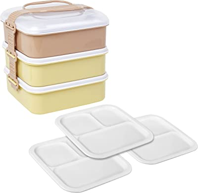 サンコープラスチック 弁当箱 ピクニックケース リオパック 3段 取り皿3枚付き アースベージュ 約幅20.2×奥行19×高さ20cm