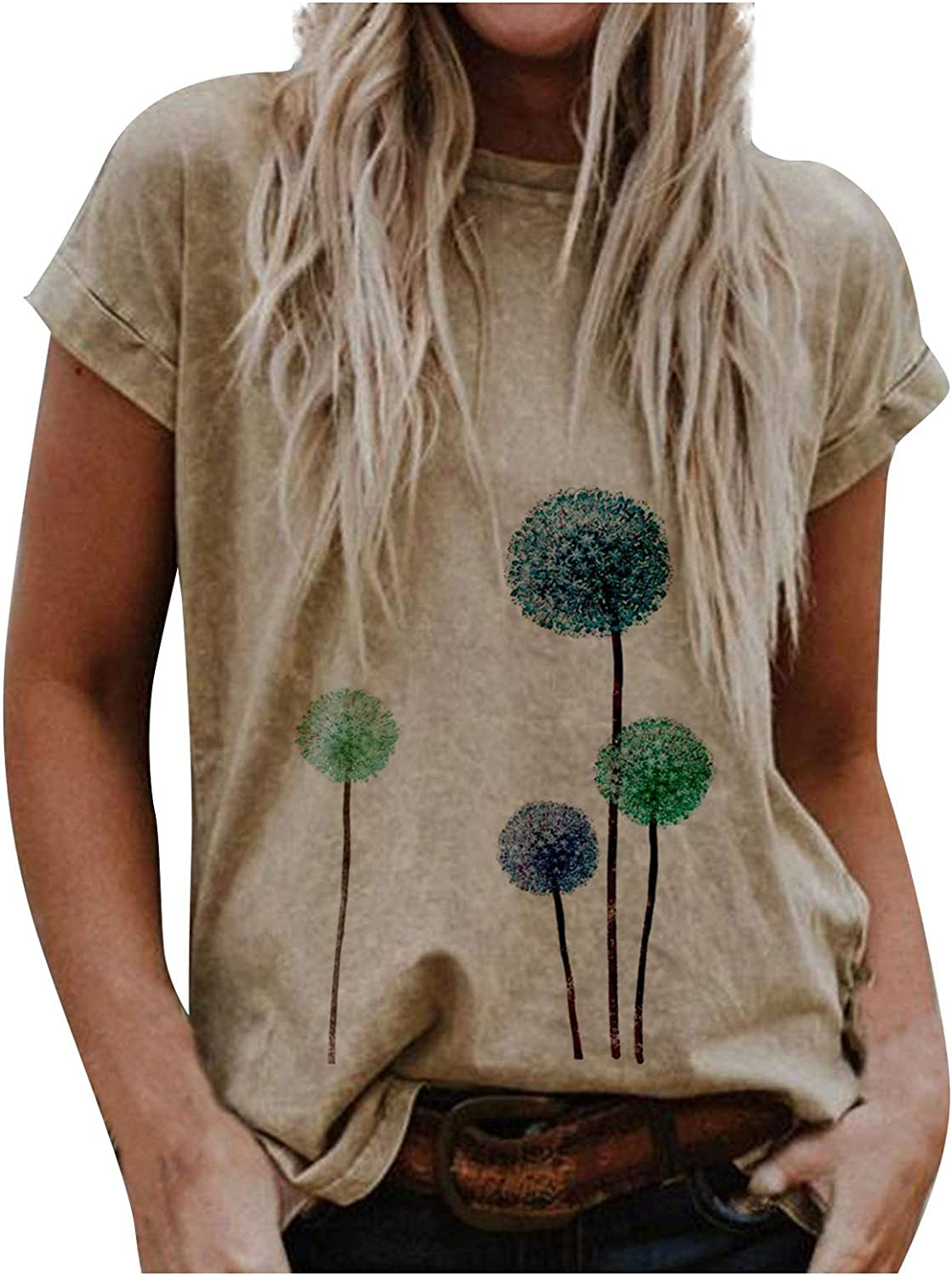 POTO Short Sleeve Tops for Womens,Short Sleeve Crewneck Shirts Casual Summer Dandelion Loose fit Tee T-Shirt Blouses