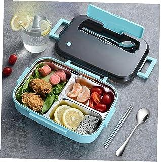 Box lunch portátil placa 3 Sección Food Design El acero inoxidable aisló envase de alimento (azul) Box lunch