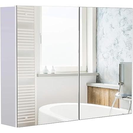 HOMCOM Armoire Miroir de Salle de Bain Armoire Murale Double Portes et étagères dim. 80L x 15l x 60H cm MDF Blanc