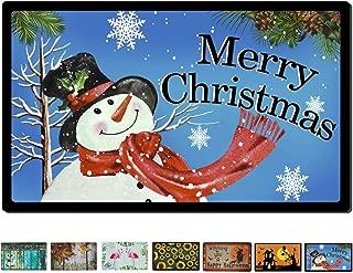 Rubber Welcome Door Mat, Decorative Indoor Outdoor Christmas Doormat Non Slip Front Door Mat, Easy to Clean Low Profile Mat for Entry Patio Garage High Traffic Areas, 17.3