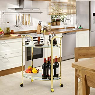ana1store Oval Cuisine Service Wheeling 2-Layers Elegant Beautiful Shape Compact Durable Gold Steel Structure Metal Fence Built-in Glossy Tempered Glass Tray with 4 Rollers Kitchen Bar Serving Cart
